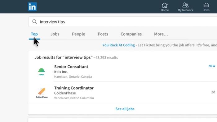 Fonction recherche nouveau LinkedIn