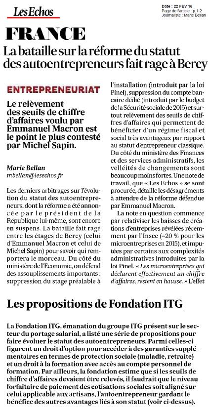 La bataille sur la réforme du statut des autoentrepreneurs fait rage à Bercy - la Fondation ITG citée dans Les Echos du 22 février 2016