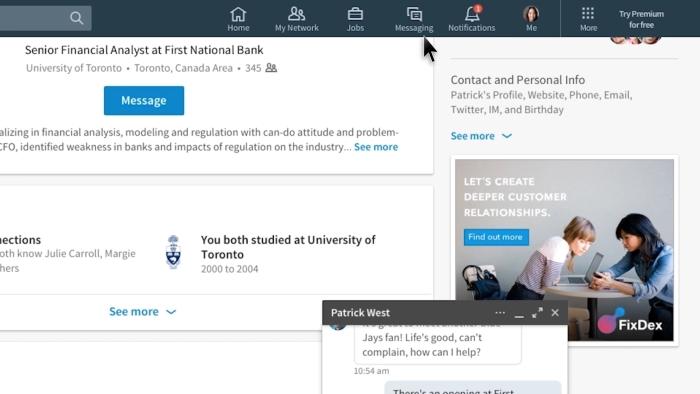 Navigation simplifiée nouveau LinkedIn